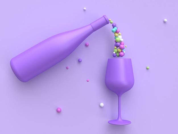 Abstraktes getränk bunt viele wiedergabe des ballweinglases und der flasche 3d