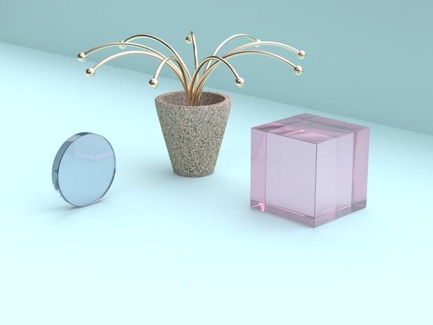 Abstraktes goldbaumrosa und wiedergabe der transparenz 3d