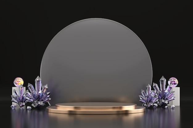 Abstraktes goldenes produktanzeigestufenpodest mit kristall-3d-rendering-hintergrund