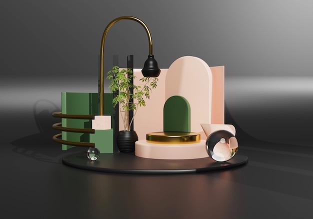 Abstraktes goldpodest mit rosa und grüner geometrie auf schwarzem hintergrund