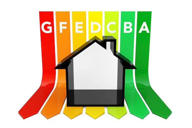 Abstraktes haus über energieeffizienz-rating-diagramm auf weißem hintergrund. 3d-rendering.