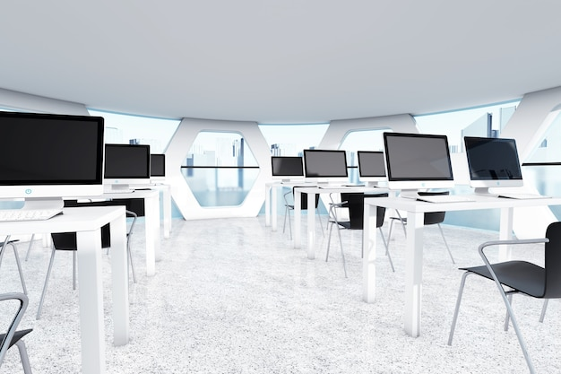Abstraktes helles officeinterior mit extremer nahaufnahme der arbeitsplätze. 3d-rendering