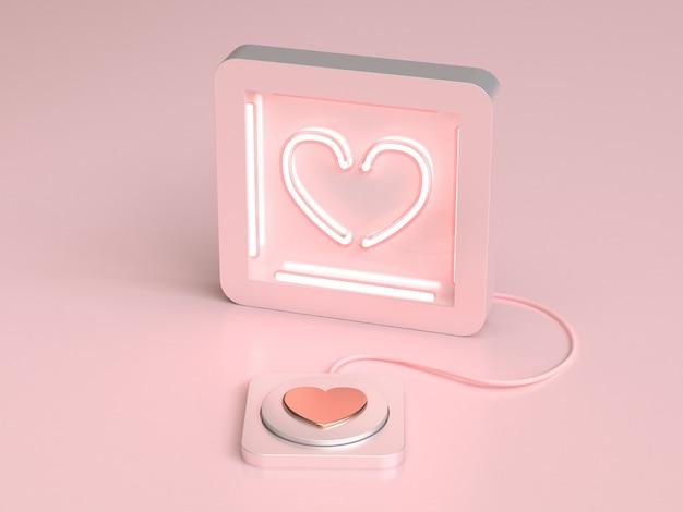 Abstraktes herz neonlicht und knopf lieben wiedergabe des valentinsgrußkonzeptes 3d