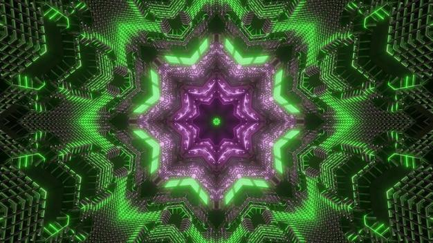 Abstraktes hintergrundbild der glänzenden 3d illustration mit symmetrischem kaleidoskopischem grünem und purpurrotem neonblumenformornament mit optischer täuschung visueller wirkung des endlosen tunnels