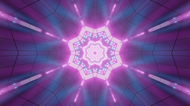 Abstraktes hintergrunddesign der leuchtenden 3d-illustration mit glänzendem neonstern und strahlen, die im lila hintergrund mit geometrischen linien reflektieren