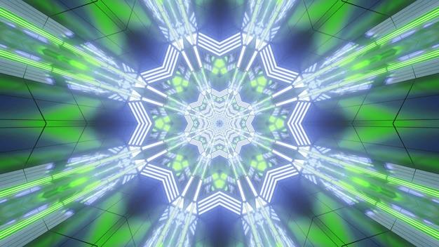 Abstraktes hintergrunddesign der leuchtenden neon-3d-illustration mit in grün- und blautönen mit geometrischen blumen geformten kaleidoskopischen muster und visuellem perspektivischem effekt