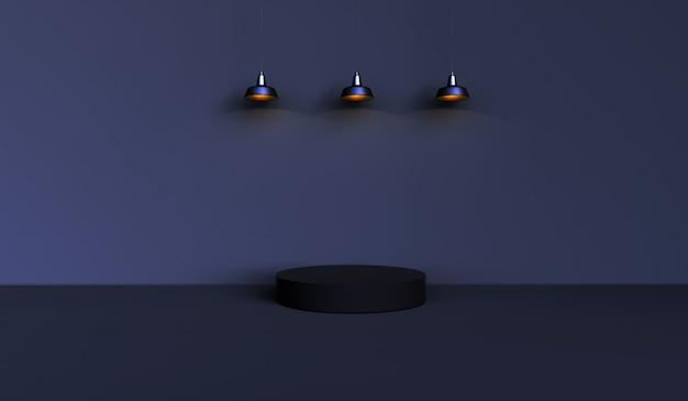 Abstraktes hintergrundschwarz, szene für produktanzeige mit drei gelben lichtern