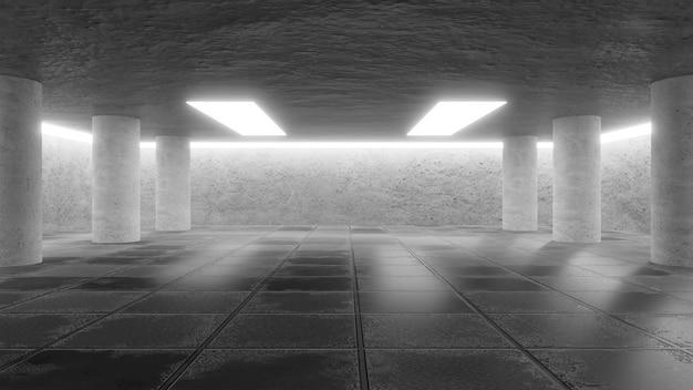Abstraktes interieur im modernen ausstellungsraum
