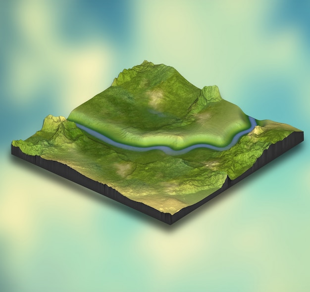 Abstraktes isometrisches 3d-landschaftsdesign auf gradientenhintergrund