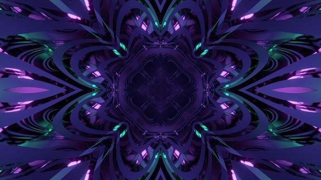 Abstraktes kaleidoskopisches muster der glänzenden 3d-illustration in form einer blume mit lila und blauen neonlichtern