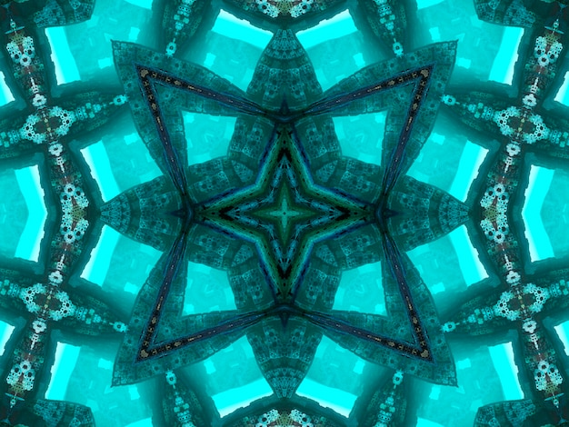 Abstraktes kaleidoskopisches muster der illustration in jadefarbe stammt von der fotografie grüner bambusblätter, die für fliesen, tapeten, textilien oder schals entworfen wurden