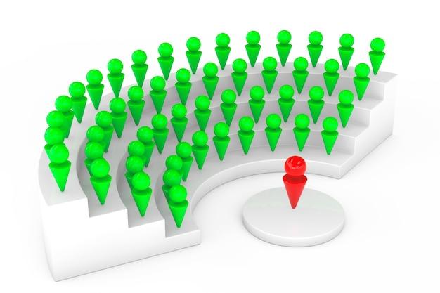 Abstraktes konferenz- oder seminarkonzept auf weißem hintergrund. 3d-rendering