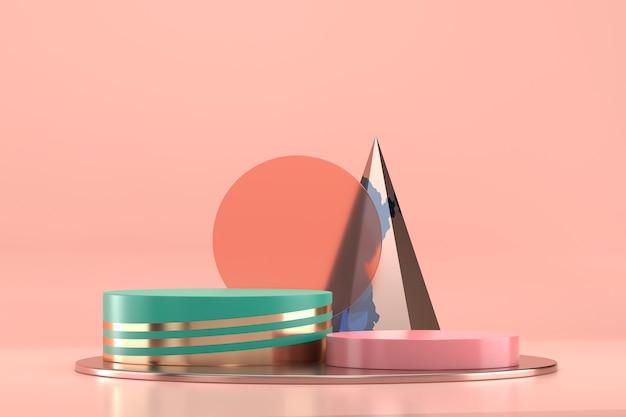 Abstraktes kosmetisches plattformstufenpodest für produktanzeige-schaufenster 3d rendern