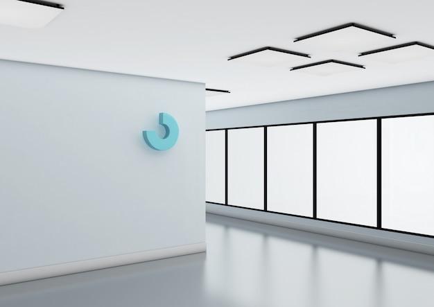 Abstraktes logo-modell an der bürowand.