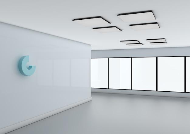 Abstraktes logo-modell an der bürowand