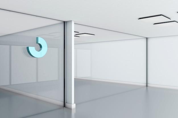 Abstraktes logo-modell auf glasbürowand. 3d-rendering.