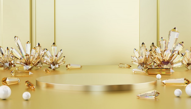Abstraktes luxusgoldmetallisches stadium mit ätzendem kristall- und perlenball, schablone für werbungsprodukt, wiedergabe 3d.