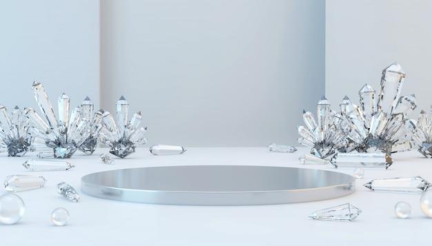 Abstraktes luxusmetallstadium mit ätzendem kristall und glaskugel, schablone für werbungsprodukt, wiedergabe 3d.