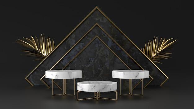 Abstraktes luxusweißmarmorzylinderpodest und goldenes blatt im schwarzen marmorhintergrund.