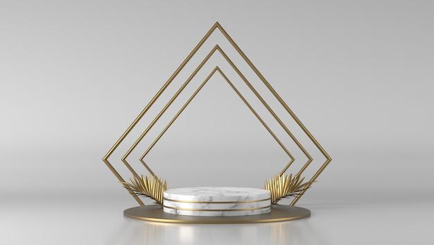 Abstraktes luxusweißmarmorzylinderpodest und goldenes blatt im weißen hintergrund.