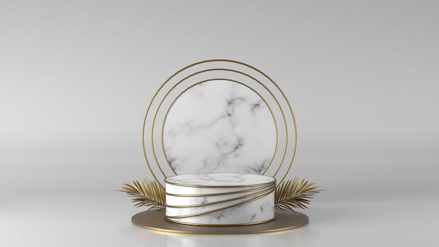 Abstraktes luxusweißmarmorzylinderpodest und goldenes sockelblatt im weißen hintergrund.
