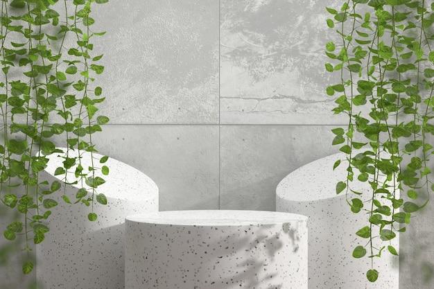 Abstraktes marmorpodest-schaufenster für produktanzeige mit efeu 3d rendern