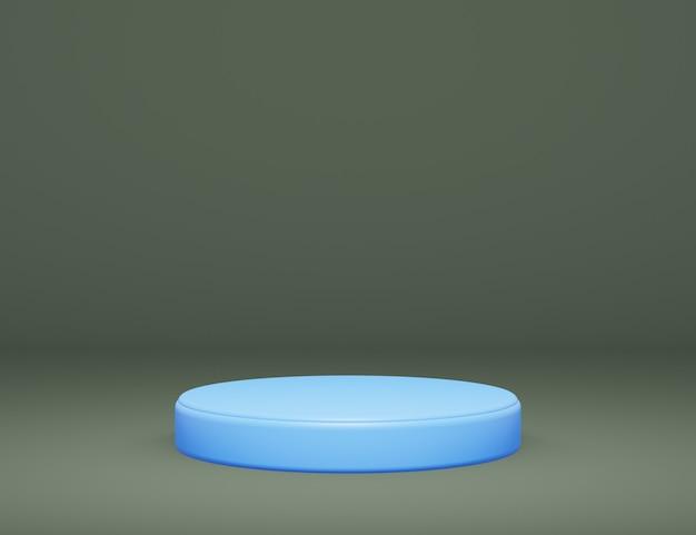 Abstraktes minimalistisches blaues podium für produktpräsentation schwarzer hintergrund 3d-render-illustration