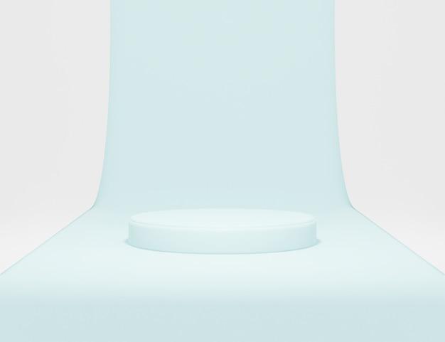 Abstraktes minimalistisches podium für produktpräsentation mit papier und blauem hintergrund 3d-rendering