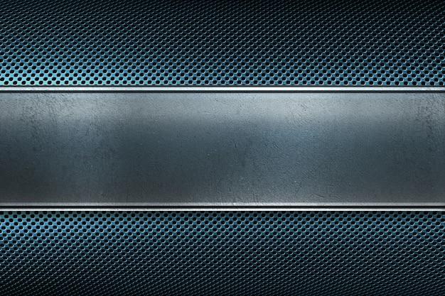 Abstraktes modernes blau färbte perforierte metallplatte mit poliermetallplattenfahne