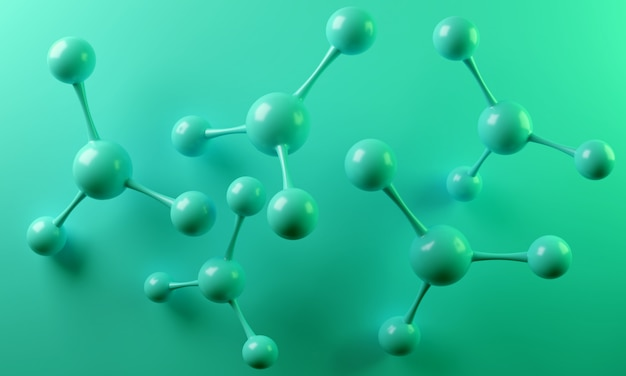 Abstraktes molekül, wiedergabe 3d.