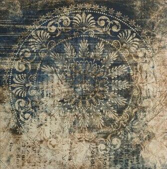 Abstraktes muster mit dekorativen keramikfliesen der dekorativen blätter