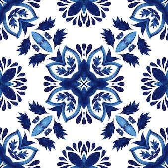 Abstraktes nahtloses dekoratives persisches farbenmuster des aquarelldamastes. mediterranes motiv. wunderschönes keramikfliesen-design