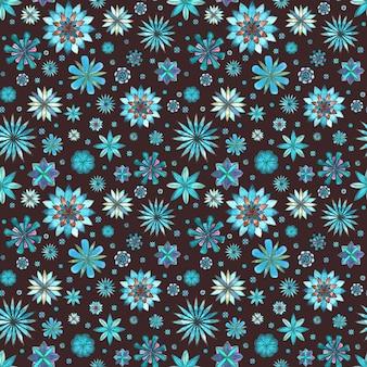 Abstraktes nahtloses ethnisches boho-blumenmuster. aquarell handgezeichnete blaue aquamarine türkisbraune blumen textur auf dunkelbraunem hintergrund. tapeten, verpackungen, textilien, stoffe