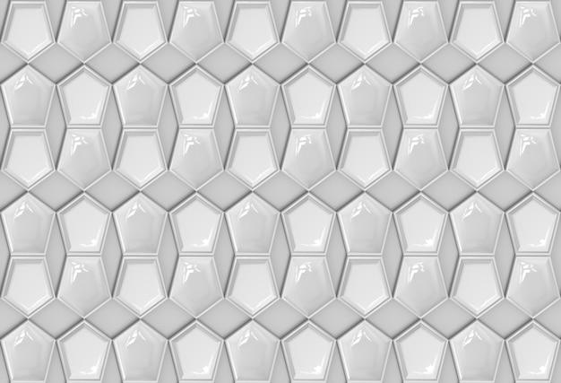 Abstraktes nahtloses weißes fünfeckiges plattenmuster auf grauem hintergrund.