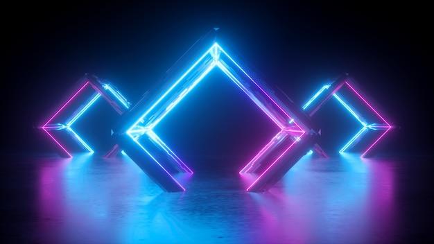 Abstraktes neon 3d der quadratischen formen mit leuchtenden linien