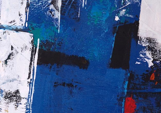 Abstraktes ölgemälde der blauen form auf leinwandhintergrund mit textur.