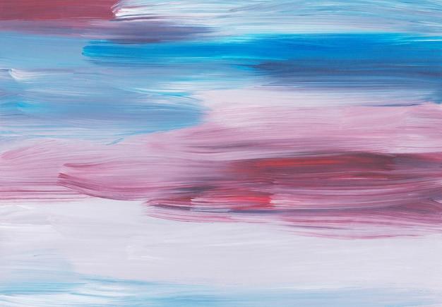 Abstraktes ölgemälde hintergrund, rote, blaue, weiße pinselstriche auf papier
