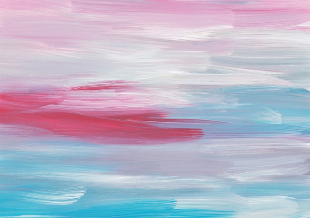 Abstraktes ölgemälde hintergrund, rote, rosa, blaue, weiße pinselstriche auf papier