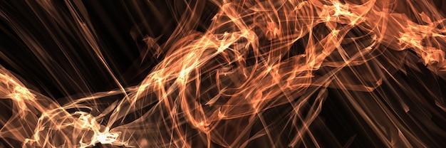 Abstraktes panorama glühende plasmaenergie auf schwarz
