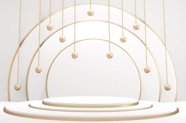 Abstraktes podest podest mit gold und weißem podium minimal design produktszene. 3d-rendering