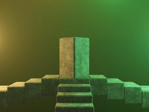 Abstraktes podest podest oder plattform - betonwürfel 3d-rendering.