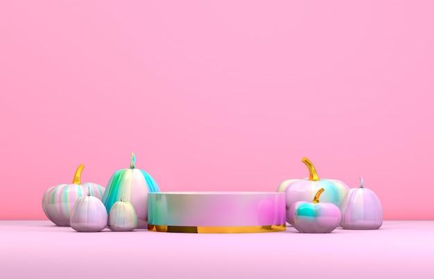 Abstraktes podium 3d halloween mit pastellrosa-zylinderkasten und kürbisen für produktanzeige.