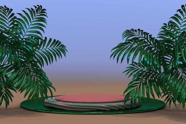 Abstraktes podium der abstrakten minimalen geometrischen form 3d mit tropischem palmsummerarthintergrund