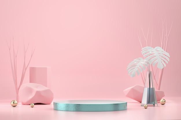Abstraktes podium für produktanzeige-schaufenster mit monstera-topf und dekoration im rosa studiohintergrund-3d-rendering