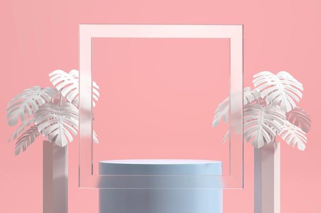 Abstraktes podium für produktanzeige-schaufenster mit monstera-topf und rahmendekoration im rosa studiohintergrund-3d-rendering
