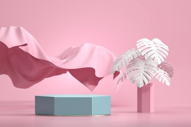 Abstraktes podium für produktanzeige-schaufenster mit monstera-topf und stoff in rosa studiohintergrund-3d-darstellung