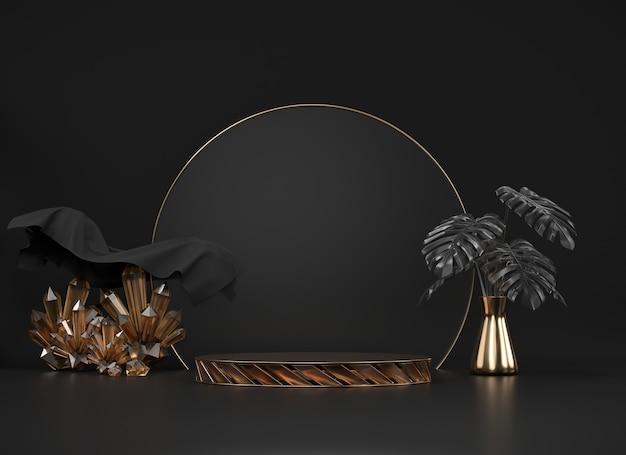 Abstraktes podium mit monstera-topf und kristalldekoration im 3d-rendering des schwarzen hintergrunds