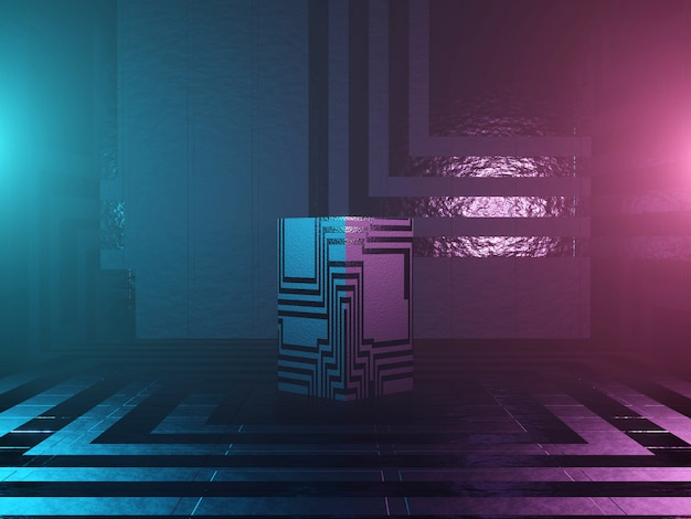 Abstraktes podium, sockel oder plattform - ein würfel mit sci-fi-textur auf einem dunklen futuristischen hintergrund. das konzept der stadt oder das innere der zukunft. 3d-rendering