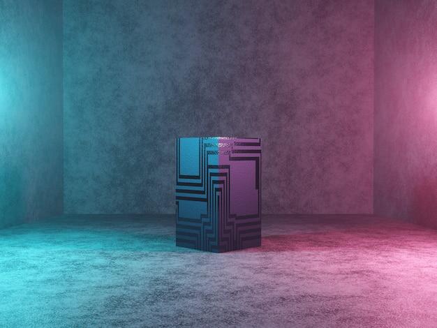 Abstraktes podium, sockel oder plattform - ein würfel mit textur auf betonhintergrund. 3d-rendering