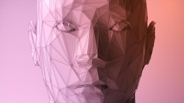 Abstraktes polygonales menschliches gesicht, konzept der künstlichen intelligenz. 3d-darstellung